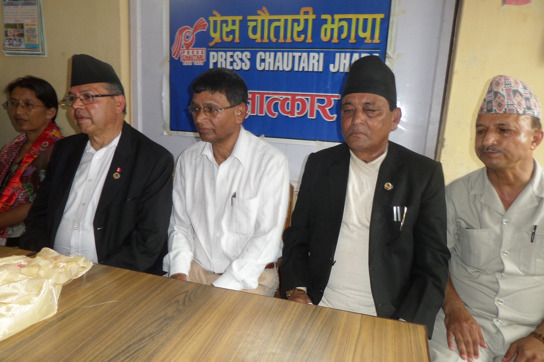 Former Prime Minister and CPN-UML senior leader Jhalanath Khanal speaking at a press conference organised by the Press Chautari Jhapa Chapter on Sunday, July 19, 2015. RSS