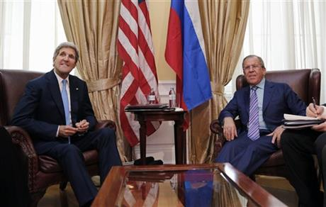 In this June 30, 2015, photo, U.S. Secretary of State John Kerry meets with Russian Foreign Minister Sergey Lavrov at a hotel in Vienna, Austria. Russia-U.S. relations are at a post-Cold War low just about everywhere, except at the Iran nuclear talks. AP