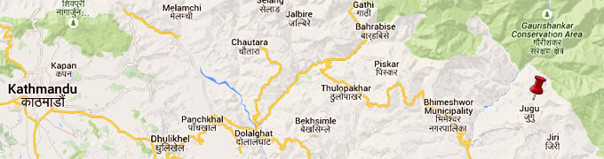 epicentre was close to Jugu, east of the district headquarters Charikot. Map: Google.NSC