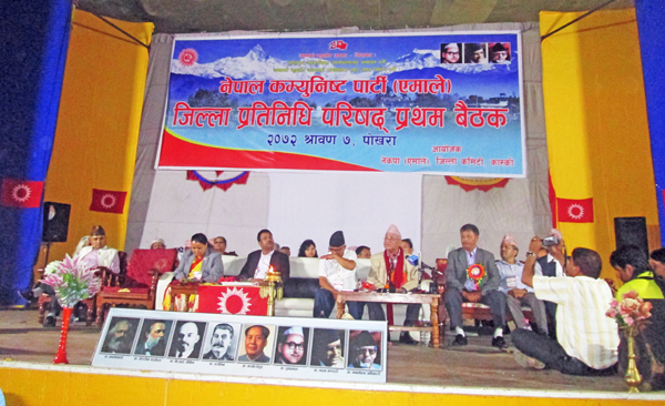 CPN-UML Chairman KP Oli speaking at the first meeting of Kaski District Representative Council, organised in Pokhara, on Thursday.   Photo: THT