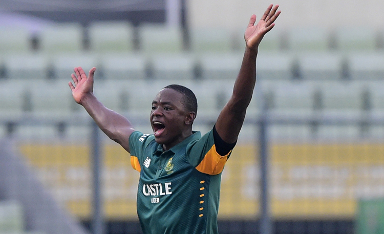 South Africa's Kagiso Rabada celebrates after taking a wicket of Bangladesh's Mohammad Mahmudullah during the first ODI match in Dhaka on Friday. Photo: AFP