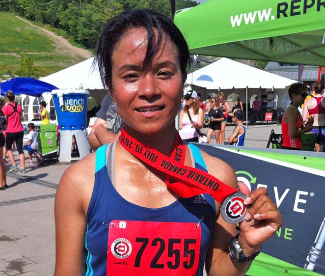 Kanchhi Maya Koju sporting the bronze medal that she won in the  North Face Endurance nChallenge in Ontario. Photo Courtesy: Lhadup Moktan