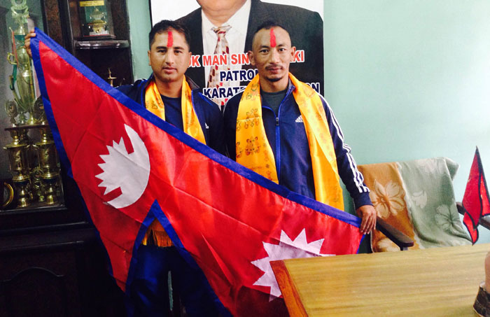Karate players Sunil Lama and Parsuram Bastola will participate in the England Karate Championship on July 5-6. Courtesy: National Sports Council