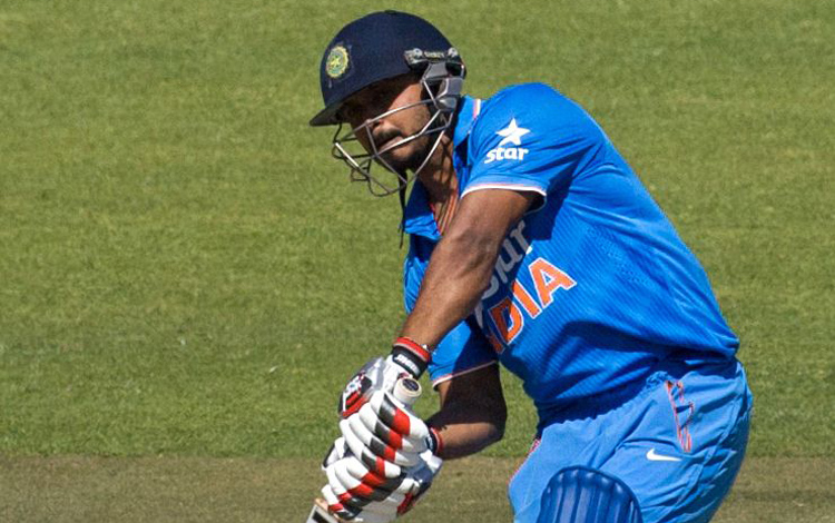 Indiau2019s Kedar Jadhav plays a shot against Zimbabwe during their third and final one-day international match in Harare on Tuesday. Photo: AFP