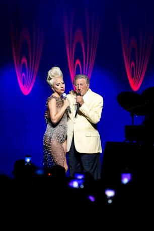 Tony Bennett and Lady Gaga perform together at the 49th Montreux Jazz Festival in Montreux, Switzerland, July 6, 2015, in this handout courtesy of the Montreux Jazz Festival. Pop star Lady Gaga and crooner Tony Bennett brought a mix of Cole Porter, Duke Ellington, Frank Sinatra and even Edith Piaf to a sell-out crowd spanning generations at the Montreux Jazz Festival on Monday night.    REUTERS/FFJM/Marc Ducrest/Handout via Reuters