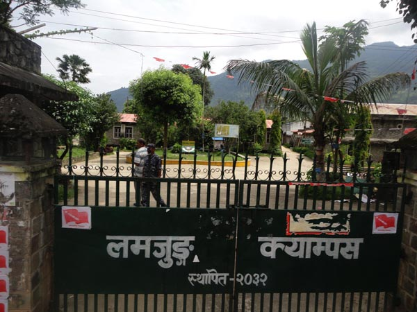 Lamjung Agriculture Campus, which has remained shut for the past two weeks in the wake of a clash between student unions of the Nepali Congress and CPN-UML, non Friday. Photo: THT