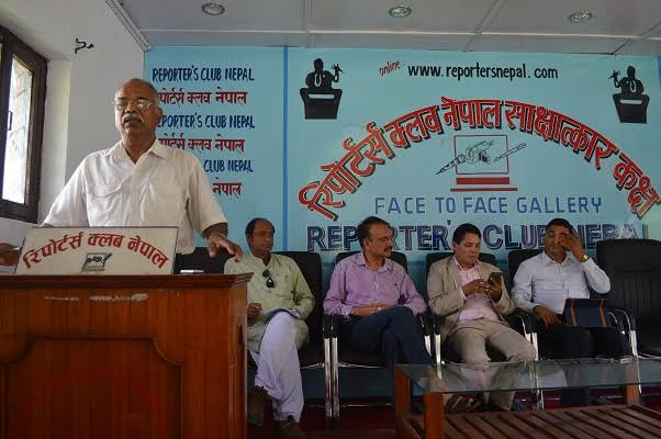 UCPN-Maoist leader Lila Mani Paudel speaking at an interaction organised by the National Federation of the Disabled Nepal at the Reporters' Club in the Capital on Wednesday, July 22, 2015.
