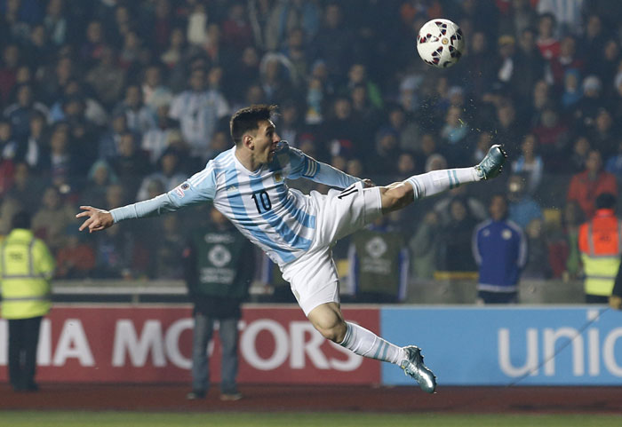Argentina's Lionel Messi kicks the ball during their Copa America semi-final match against Paraguay at the Ester Roa Rebolledo nStadium in Concepcion, Chile, on Tuesday. Argentina won the match 6-1. Photo: AP