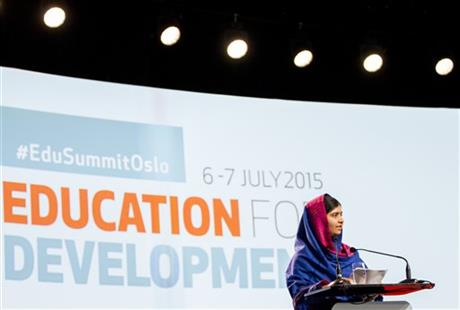 Nobel Peace Prize winner Malala Yousafzai speaks during the Oslo Summit on Education for Development at Oslo Plaza in Oslo, Norway, Tuesday, July, 7, 2015. AP