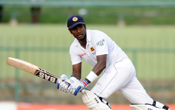 Sri Lankau0092s Angelo Mathews bats against Pakistan on the third day of their third Test match in Pallekele on Sunday. Photo: AFP