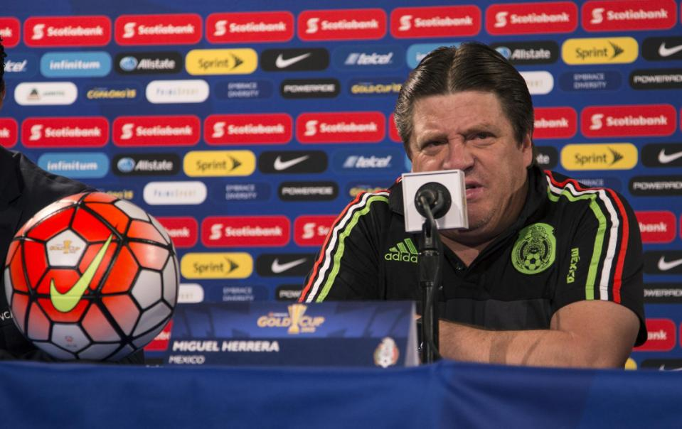 Mexico's head coach Miguel Herrera speaks during a news conference, Saturday, July 25, 2015, in Philadelphia. Mexico is scheduled to face Jamaica in a CONCACAF Gold Cup soccer match Sunday night in Philadelphia. (AP Photo/Chris Szagola)