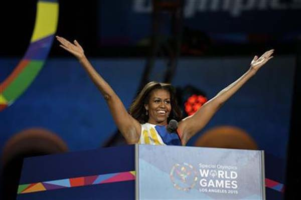 First Lady Michelle Obama declares the 2015 Special Olympics World Games officially open during the opening ceremony at the Los Angeles Memorial Coliseum, Saturday, July 25, 2015, in Los Angeles. Photo: AP