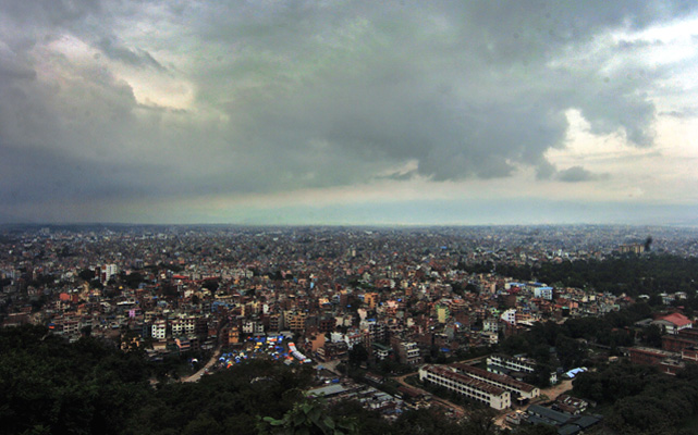 Monsoon clouds are seen over the Kathmandu Valley on Wednesday. After a brief break, monsoon has gained pace again. Photo: Dhruba Ale/THT