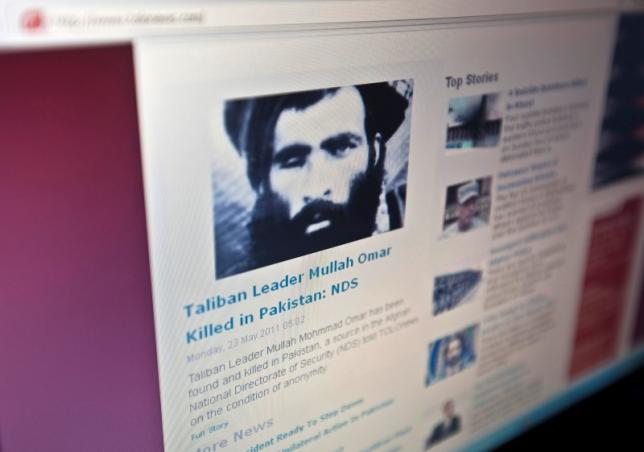 REPRESENTATIVE IMAGE: The Tolonews website runs a story on its front page reporting about news of the death of Taliban leader Mullah Mohammad Omar in Kabul May 23, 2011. REUTERS/Ahmad Masood/Files