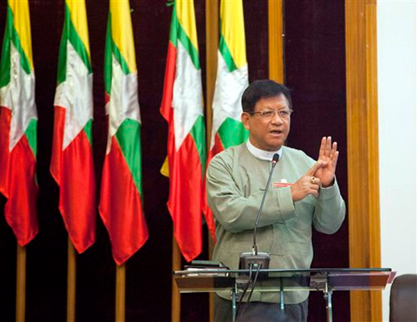 Myanmar Union Election Commission Chariman Tin Aye speaking at a press conference at Myanmar Peace Centre, in Yangon, on Wednesday. Photo: AP