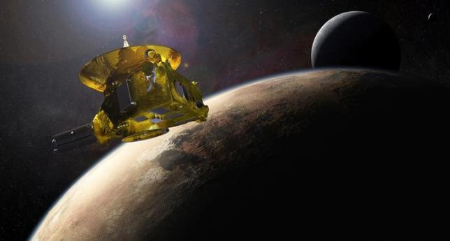 An artist's impression of NASA's New Horizons spacecraft encountering Pluto and its largest moon, Charon, is seen in this NASA image from July 2015. REUTERS/NASA/Applied Physics Laboratory/Southwest Research Institute