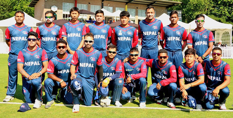 Nepal cricket team pose for a photograph before playing against the hosts Netherlands at VRA Ground in Amstelveen, on Tuesday, June 30, 2015. Photo: CAN