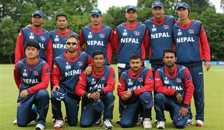 Nepal national team players pose before their ICC World Twenty20 Qualifiers match against Namibia in Stormont, Belfast on Saturday.  Nepal will play against Ireland on Monday. Photo: THT