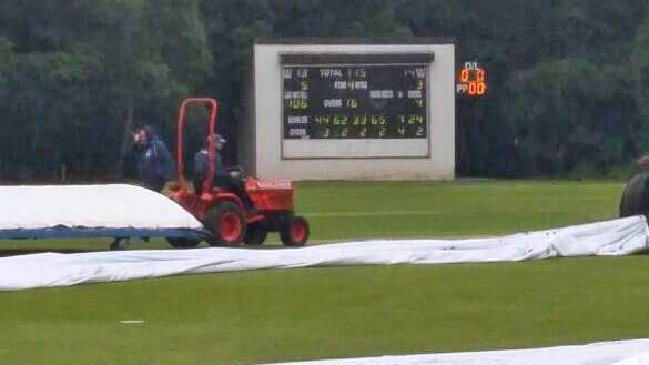 The play has currently been suspended due to rainfall. Photo: ICC