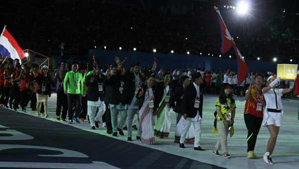 Nepali athletes and officials during the opening ceremony of the 28th Summer Universiade Games in Gwangju, South Korea on Saturday.nPhoto: THT