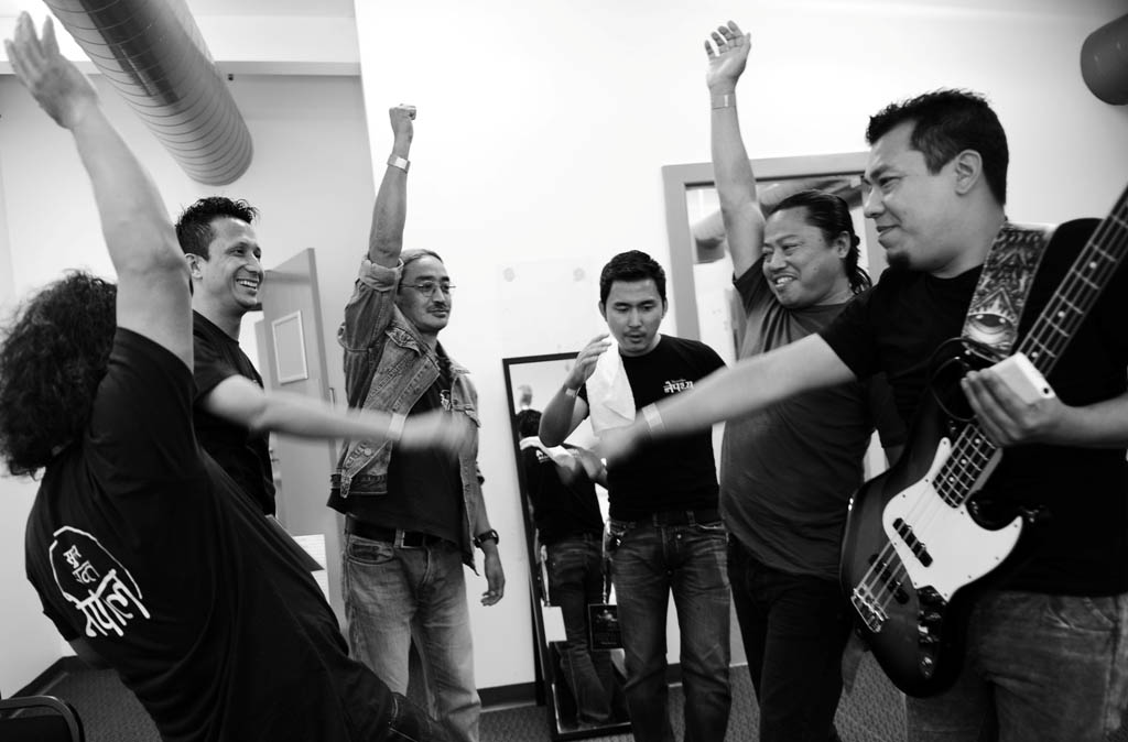 File- Nepathya band members cheer before going to stage.