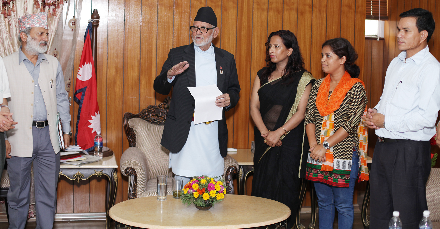 Prime Minister Sushil Koirala  responds to a delegation led  by CPN-UML aligned Youth Federation Nepal with a demand to terminate Lipulek agreement between China and India, at PM's Official Residence, Baluwatar, Kathmandu on Wednesday, July 1, 2015. Photo: RSS