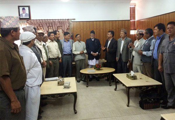 Prime Minister Sushil Koirala with a delegation comprising leaders of different political parties from Gorkha and Dhading districts at his official residence in Baluwatar on Saturday morning July 11, 2915.