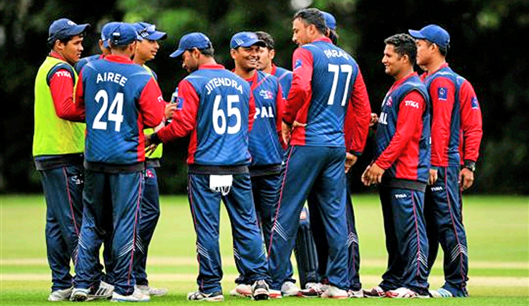 Nepali players assemble during their ICC World Twenty20 Qualifiers match against Namibia in Belfast, Ireland on Saturday. Courtesy: ICC/ Sports file