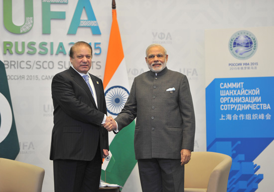 Indian Prime Minister Narendra Modi meeting his nPakistani counterpart Nawaz Sharif, in Ufa, on Friday. Photo: AFP