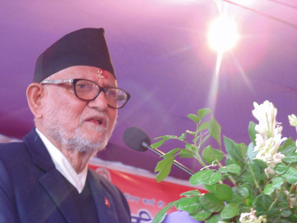 Prime Minister Sushil Koirala addressing a programme organised to inaururate the Ram Tower at Ram Chowk in janakpur on Wednesday, July 15, 2015. Photo: RSS