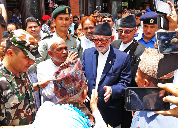 Locals giving suggestions to Prime Minister Sushil Koirala on the draft constitution, in Nepalgunj, on Monday. Photo: THT