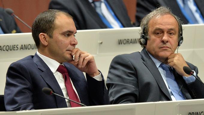 Prince Ali Bin Al Hussein and Michel Platini