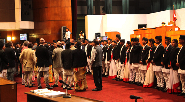 Rastriya Prajatantra Party- Nepal lawmakers shouting slogans as they obstruct the Constituent Assembly meeting called for deliberations on the preliminary draft of the constitution, in CA Hall, in New Baneshwor, Kathmandu, on Friday. nphoto: THT
