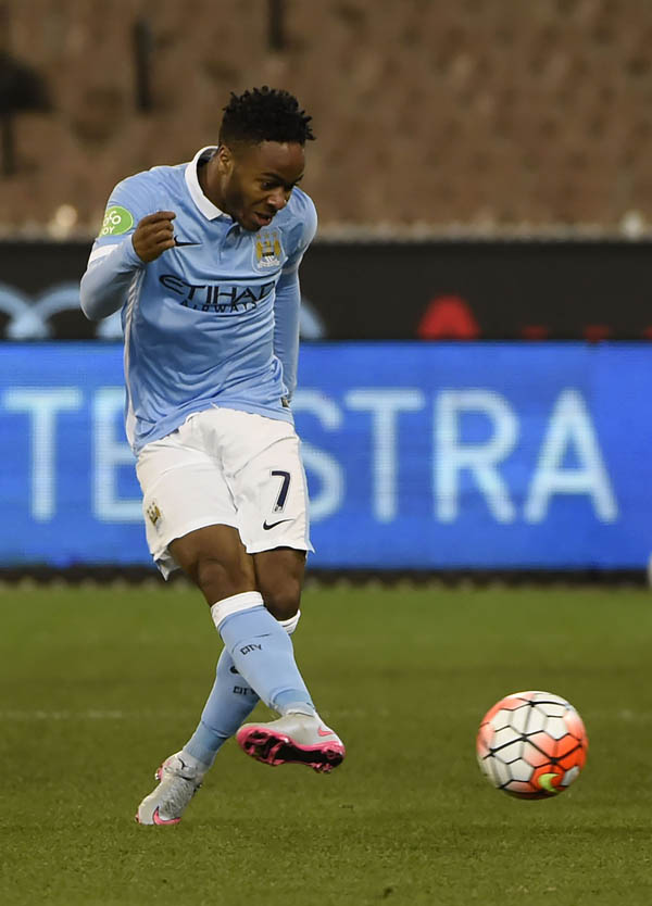 Raheem Sterling of Manchester City eyes the ball during the International Champions Cup football match between English Premier League team Manchester City and Italian side AS Roma in Melbourne on July 21, 2015. Photo: AFP