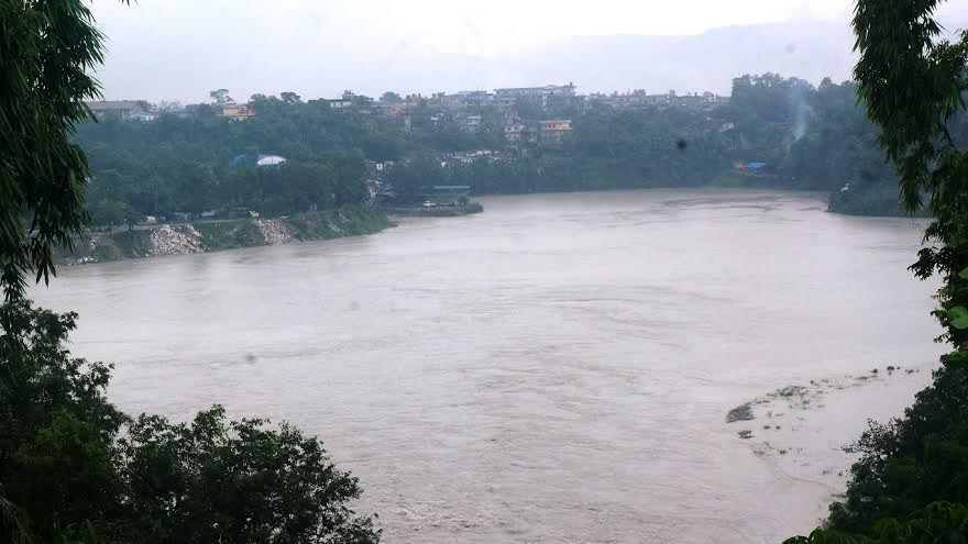 A temporary lake formed in Seti River in Ramghat of Pokhara on Thursday July 16, 2015. Photo: Bharat Koirala