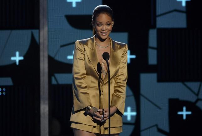 Singer Rihanna speaks on stage during the 2015 BET Awards in Los Angeles, California, June 28, 2015.  REUTERS/Kevork Djansezian