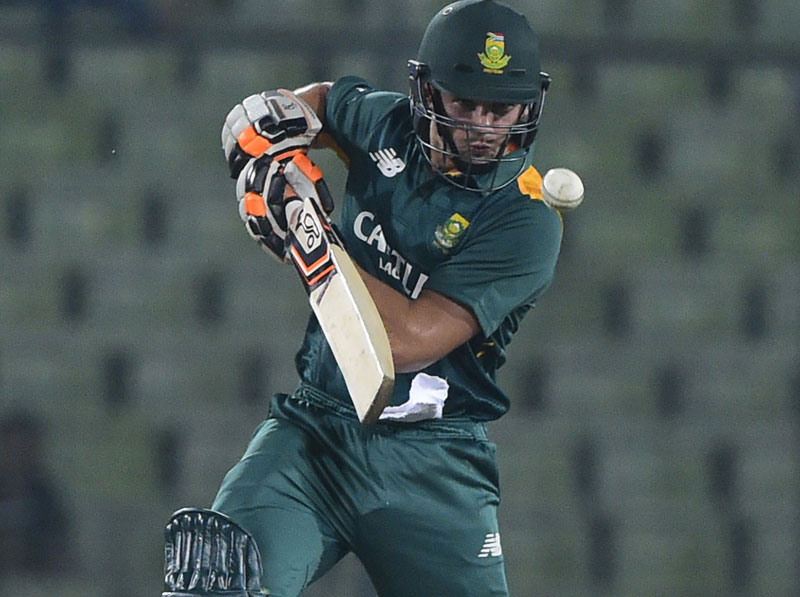 South Africa cricketer Rilee Rossouw plays a shot during the first ODI (One Day International) cricket match between Bangladesh and South Africa at the Sher-e-Bangla National Cricket Stadium in Dhaka on July 10, 2015. Photo: AFP