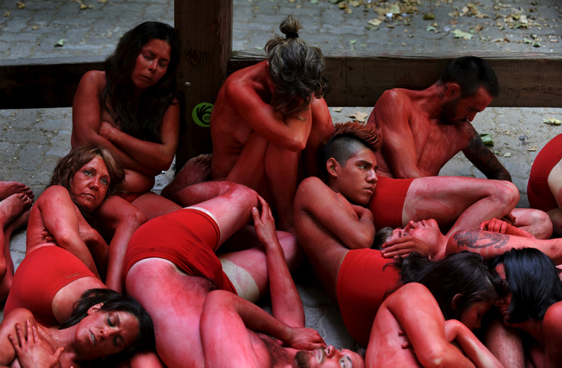 Animal rights protesters demonstrate for the abolition of bull runs and bullfights, three days before the start of the famous running of the bulls San Fermin festival in Pamplona, northern Spain, July 4, 2015. Photo: Reuters
