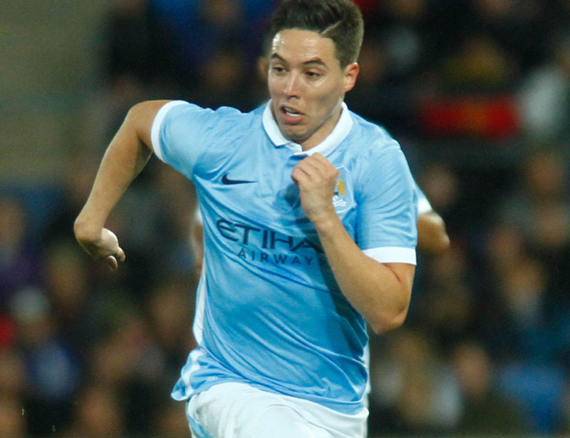 Samir Nasri of Manchester City controls for the ball during the friendly football match between English Premier League side Manchester City and A-League side Melbourne City at Cbus Super Stadium on the Gold Coast on July 18, 2015. Photo: AFP