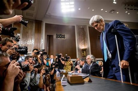 Secretary of State John Kerry, right, Secretary of Energy Ernest Moniz, second from right, and Secretary of Treasury Jack Lew, third from right, arrive to testify at a Senate Foreign Relations Committee hearing on Capitol Hill, in Washington, Thursday, July 23, 2015, to review the Iran nuclear agreement. AP