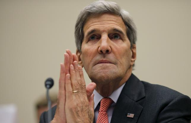 U.S. Secretary of State John Kerry testifies before a House Foreign Affairs Committee hearing on the Iran nuclear agreement in Washington, July 28, 2015.  REUTERS/Carlos Barria