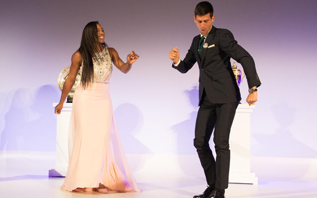Wimbledon winners Novak Djokovic of Serbia and Serena Williams of the United States dancing on stage at the Champions Dinner in London on Sunday. Photo: AFP