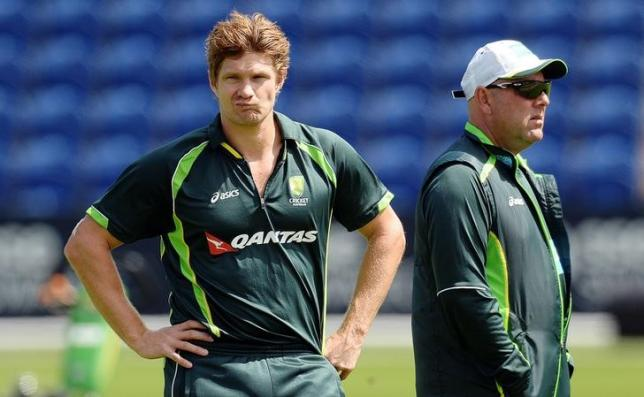 Cricket - Australia Nets - SWALEC Stadium, Cardiff, Wales - 7/7/15nAustralia's Shane Watson with Darren Lehmann during a training session. Action Images via Reuters / Philip BrownnLivepic