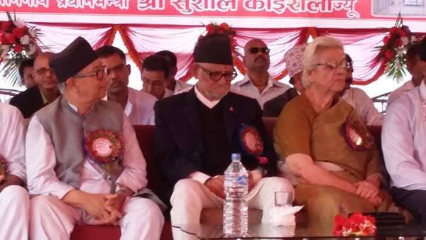 Prime Minister Sushil Koirala attending the inauguration of Shreeram Tower organised by Ram Yuba Committee of Janakpurdham, in Janakpur, on Wednesday. Photo: THT
