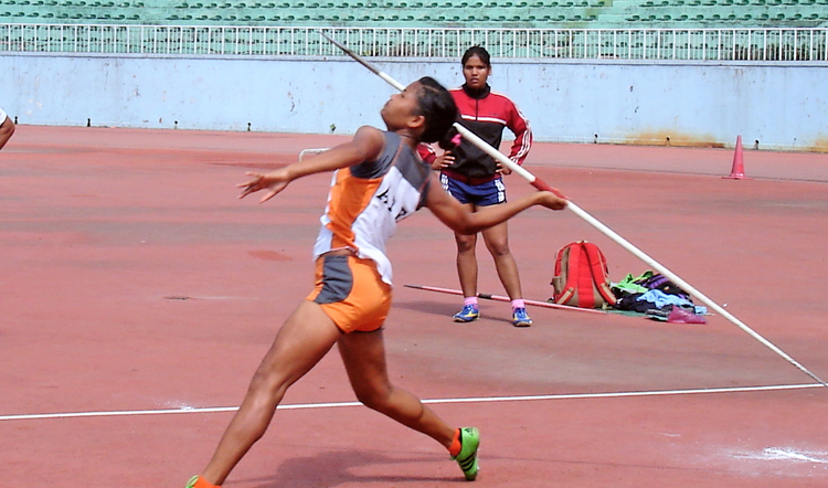 Sima Kumari Tharu performs during the women's javelin throw competition at the National Team's Time Trial at the Dasharath Stadium in Kathmandu on Sunday. Photo: THT