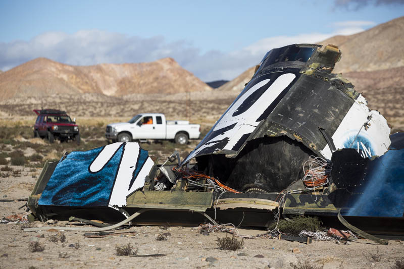 FILE - In this Nov. 1, 2014 file photo, wreckage lies near the site where a Virgin Galactic space tourism rocket, SpaceShipTwo, exploded and crashed in Mojave, Calif. Photo: AP