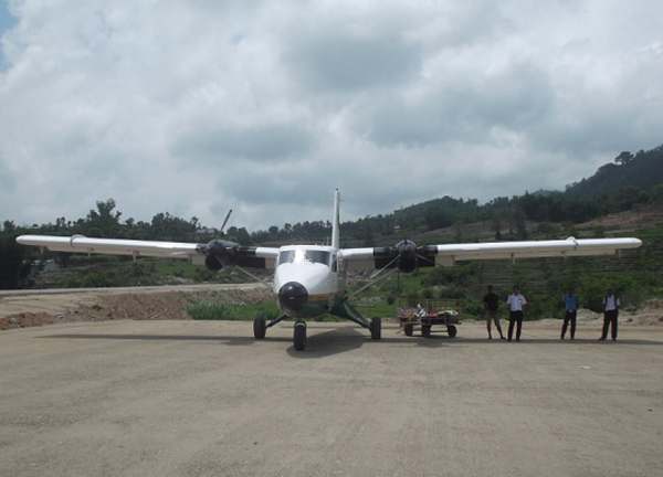 A Tara Air plane conducting test flight at Taksar airport in Bhojpur on Wednesday. Photo: THT
