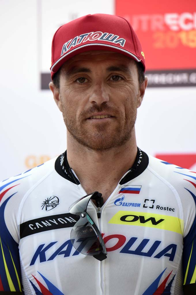 Italy's Luca Paolini poses during the team presentation ceremony at Lepelenburg park in Utrecht, The Netherlands, on July 2, 2015, two days before the 102nd edition of the Tour de France cycling race. Italian rider Luca Paolini has failed a doping test at the Tour de France, his Katusha team said on July 10, 2015. The 38-year-old tested positive for cocaine, which is not banned out of competition but is on the World Anti-Doping Agency's list of doping substances in competition.  AFP PHOTO / ERIC FEFERBERG