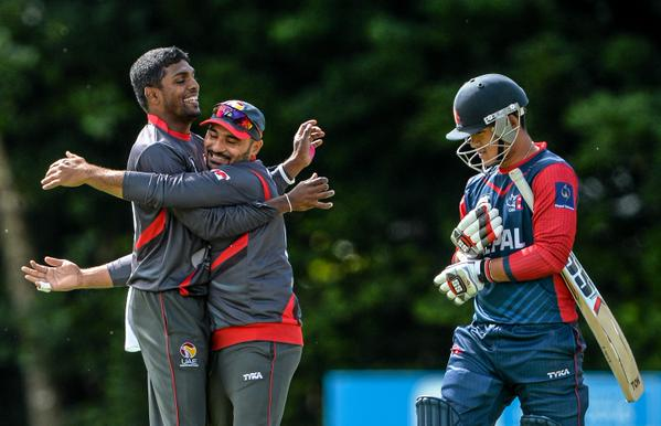UAE players celebrate after taking a Nepali wicket. Photo: ICC
