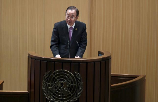 U.N. Secretary-General Ban Ki-moon addresses the opening of the Third International Conference on Financing for Development in Ethiopia's capital Addis Ababa, July 13, 2015. REUTERS/Tiksa Negeri